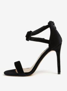 9040c0251 Čierne zamatové sandále na ihličkovom podpätku Dorothy Perkins