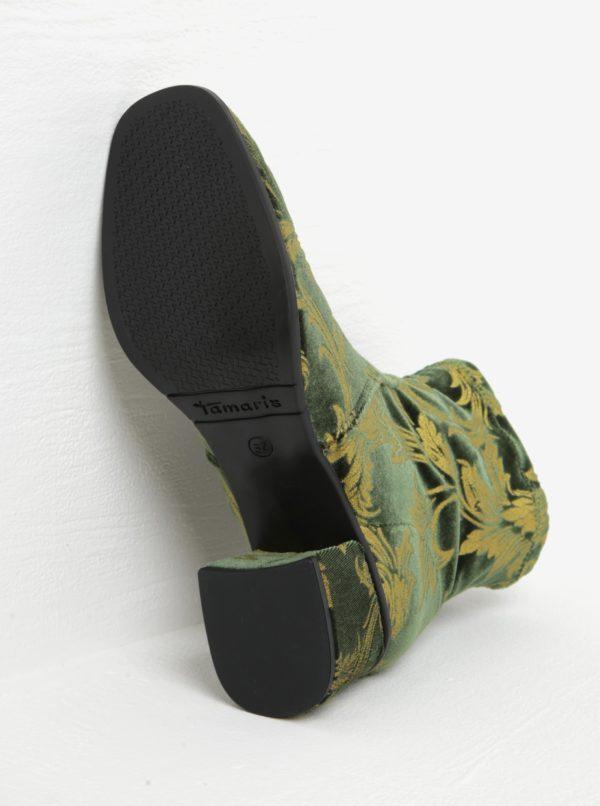 Tmavozelené zamatové členkové topánky na podpätku Tamaris