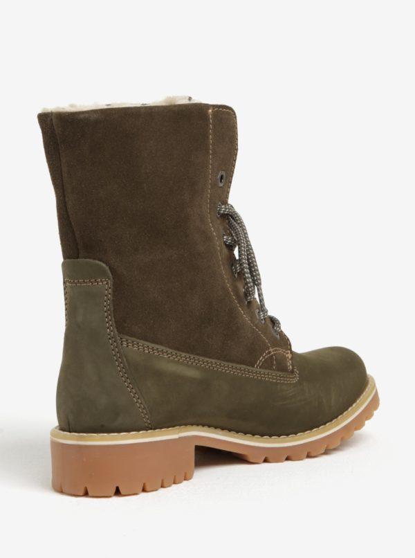 e181b1ac50e3 Zelené semišové vodovzdorné zimné topánky Tamaris