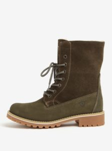 Zelené semišové vodovzdorné zimné topánky Tamaris