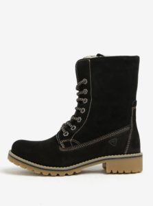 Čierne semišové vodovzdorné zimné topánky Tamaris