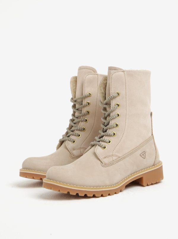 Béžové semišové vodovzdorné zimné topánky Tamaris