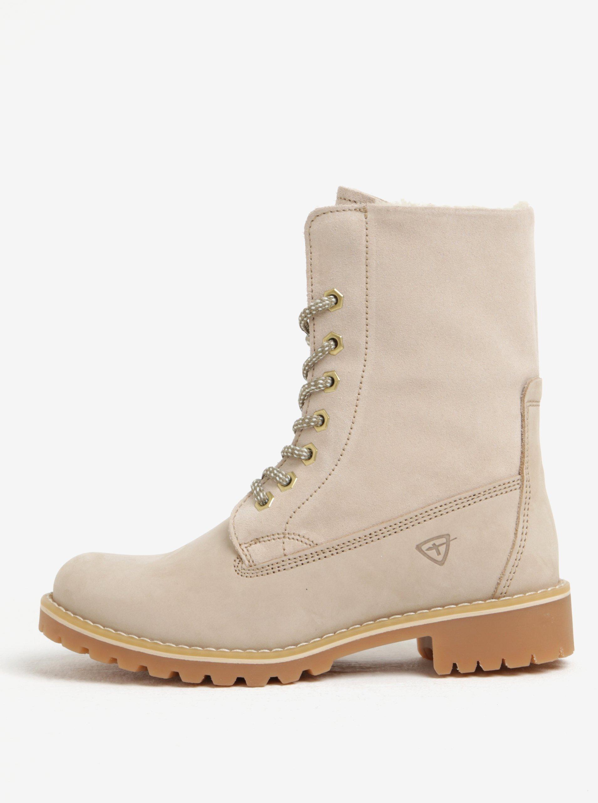 7c4c8271557cf Béžové semišové vodovzdorné zimné topánky Tamaris   Moda.sk