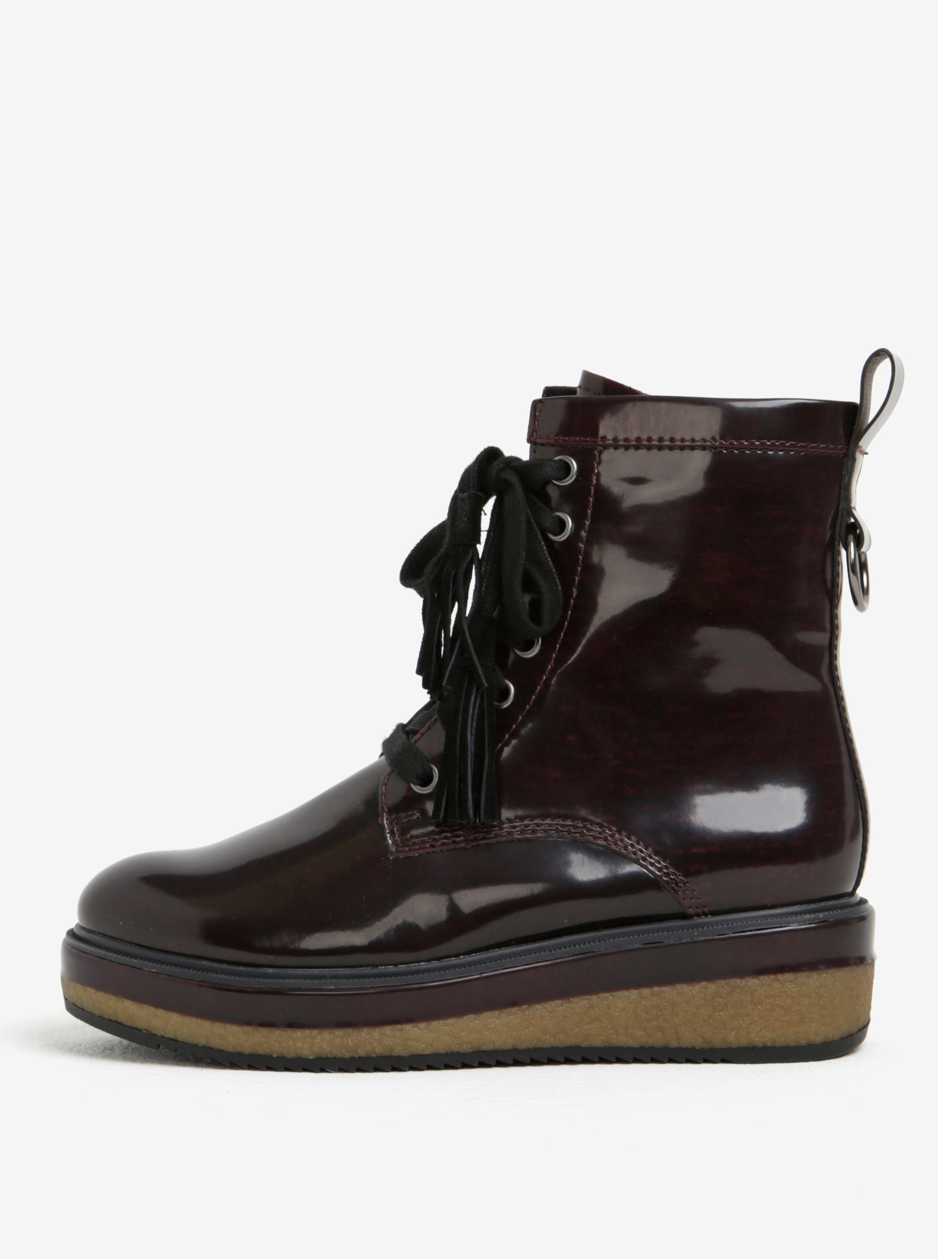 97b32bb7385b Vínové lesklé členkové topánky na platforme Tamaris