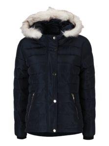 Tmavomodrá prešívaná zimná bunda Dorothy Perkins Petite