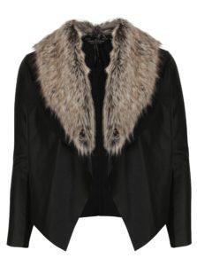 Čierna koženková bunda s umelým kožúškom Dorothy Perkins Curve