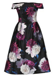 Čierne kvetované midišaty s odhalenými ramenami Dorothy Perkins