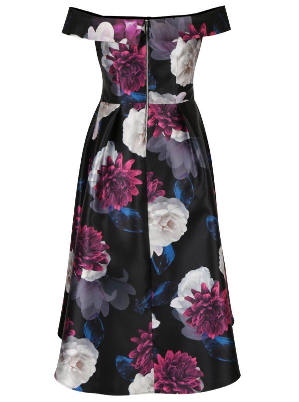 Čierne kvetované midišaty s odhalenými ramenami Dorothy Perkins ... 30890114425