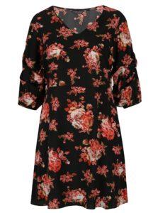 Červeno-čierne kvetované šaty so zberkaním Dorothy Perkins Curve