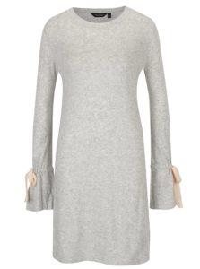 Sivé melírované svetrové šaty s mašľami na rukávoch Dorothy Perkins