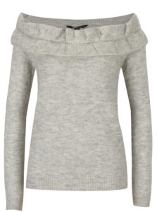 Sivý melírovaný sveter s odhalenými ramenami Dorothy Perkins