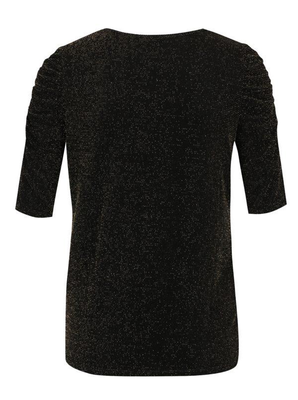 Čierne tričko s odleskami v zlatej farbe Dorothy Perkins