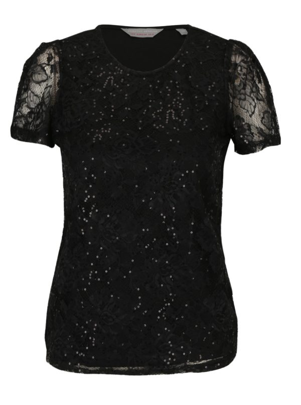 Čierne čipkované tričko s flitrami Dorothy Perkins Petite