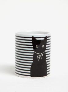 Bielo-čierny pruhovaný hrnček s motívom mačky Butter Kings