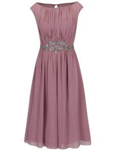 Staroružové šaty bez rukávov s ozdobnou aplikáciou Little Mistress
