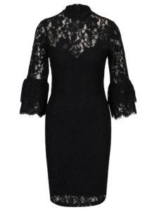 Čierne čipkové šaty s 3/4 volánovými rukávmi Paper Dolls