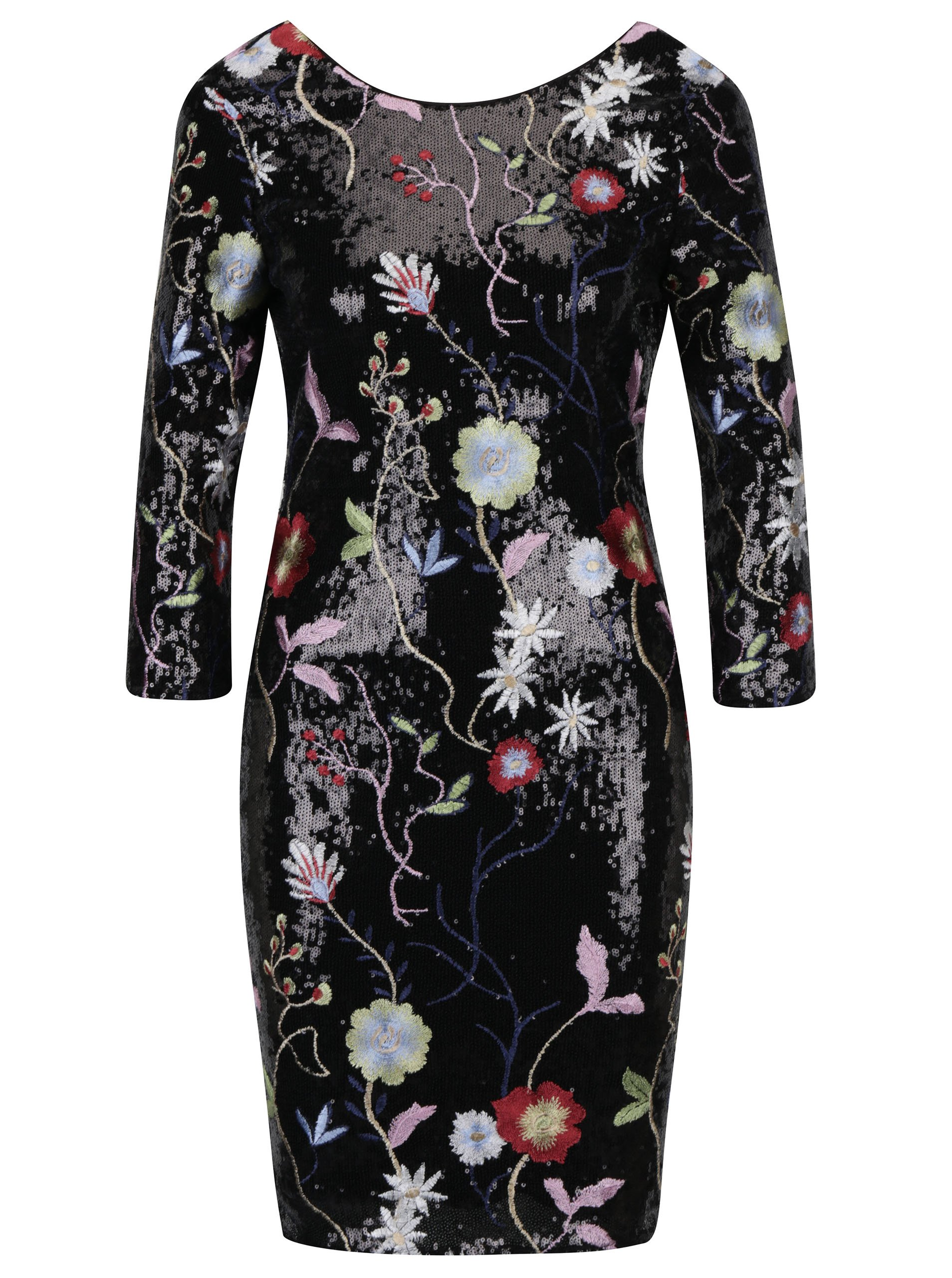 Čierne flitrované šaty s kvetovanými výšivkami a 3 4 rukávom Little Mistress 1aebb4e69ca