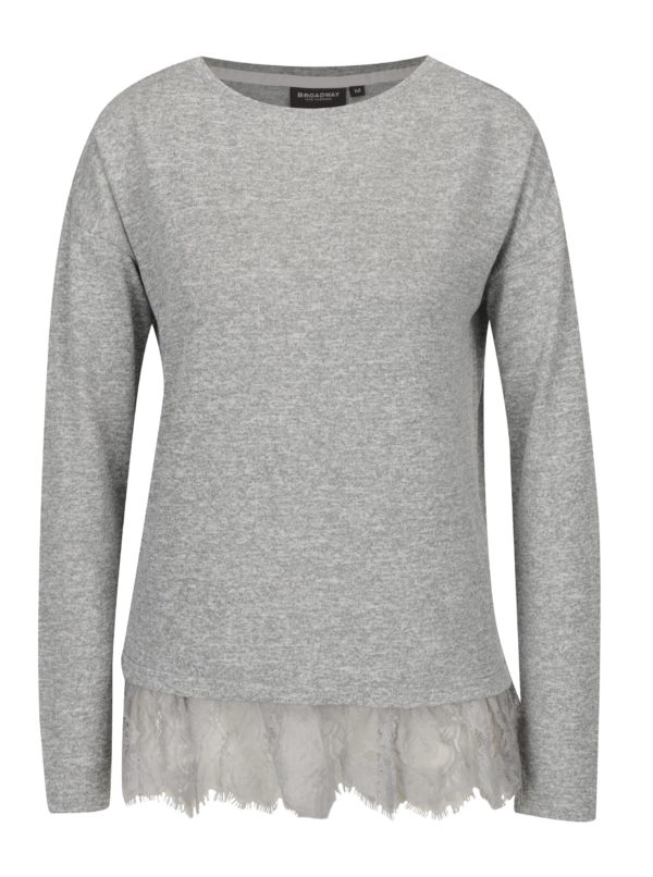 Sivé dámske melírované tričko s čipkovaným lemom Broadway Sylvi
