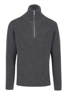 Sivý pánsky sveter so zipsom Broadway Pear