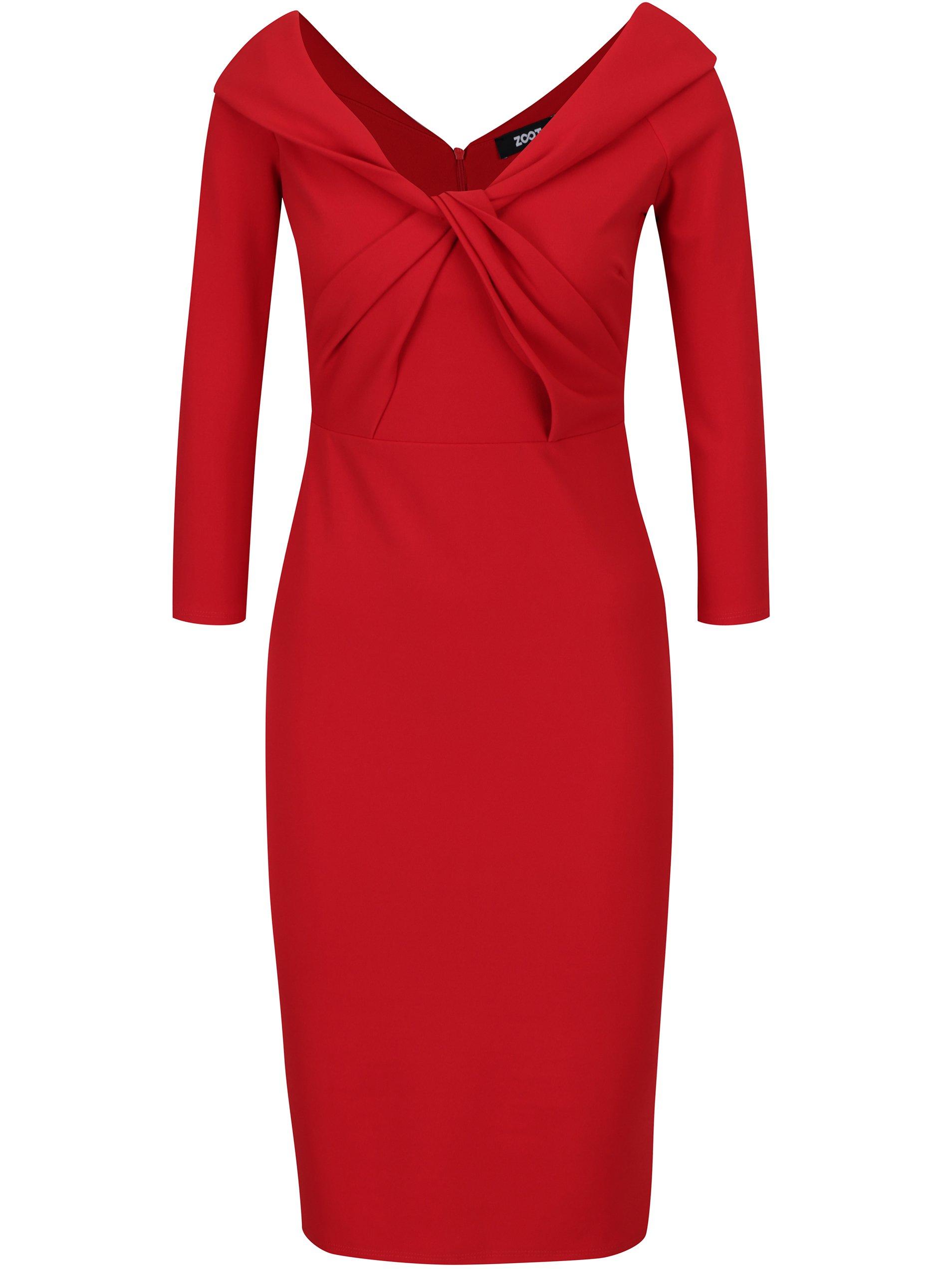 Červené puzdrové šaty s uzlom v dekolte ZOOT  87c2363af1b