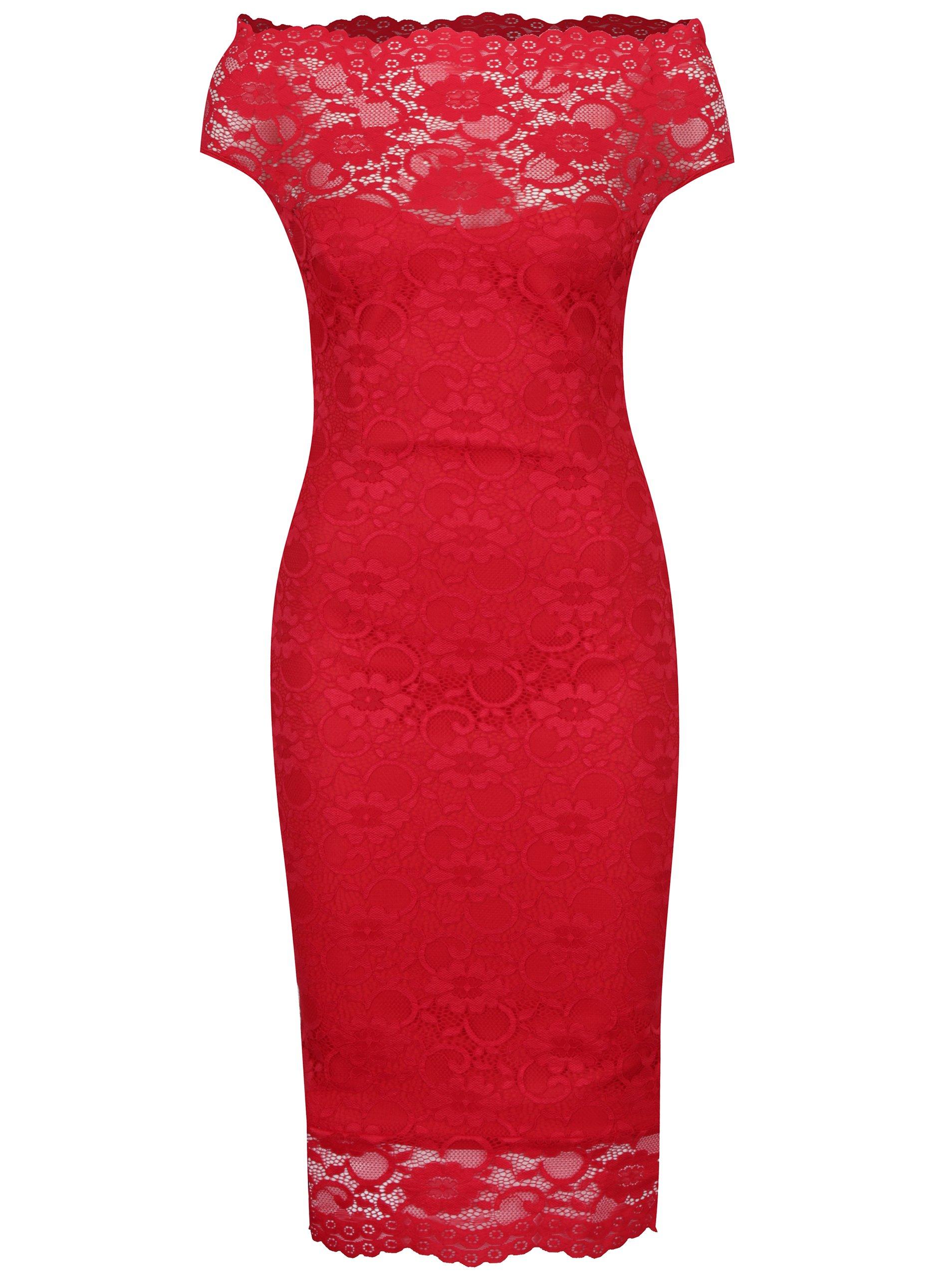 3dbc10da9dc5 Červené puzdrové čipkované šaty ZOOT