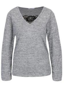 Sivé melírované tričko s čipkou Haily's Saphira