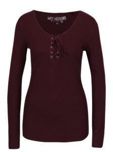 Vínové rebrované tričko so šnurovaním v dekolte Haily's Britta