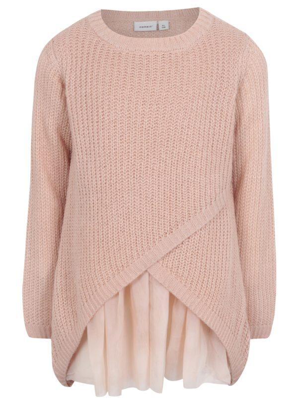 Ružový dievčenský prekladaný sveter name it Imdia