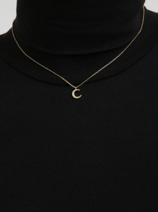 Retiazka s príveskom v tvare mesiaca v zlatej farbe Pieces Anchor