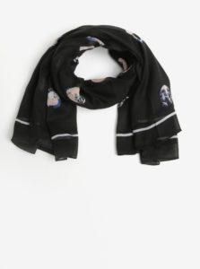 Čierna vzorovaná melírovaná šatka Pieces Amisty