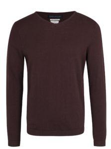 Hnedý tenký sveter s véčkovým výstrihom Jack & Jones Luke Premium