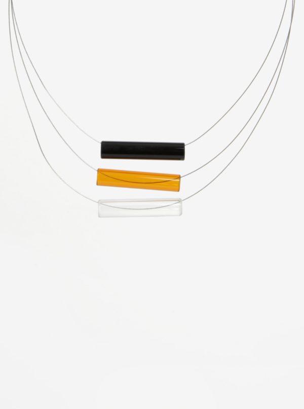 Čierno-oranžový sklenený náhrdelník KO-RA-LE Tri
