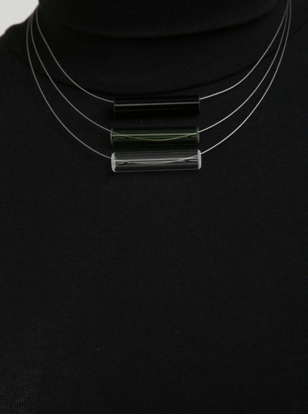 Čierno-zelený sklenený náhrdelník KO-RA-LE Tri