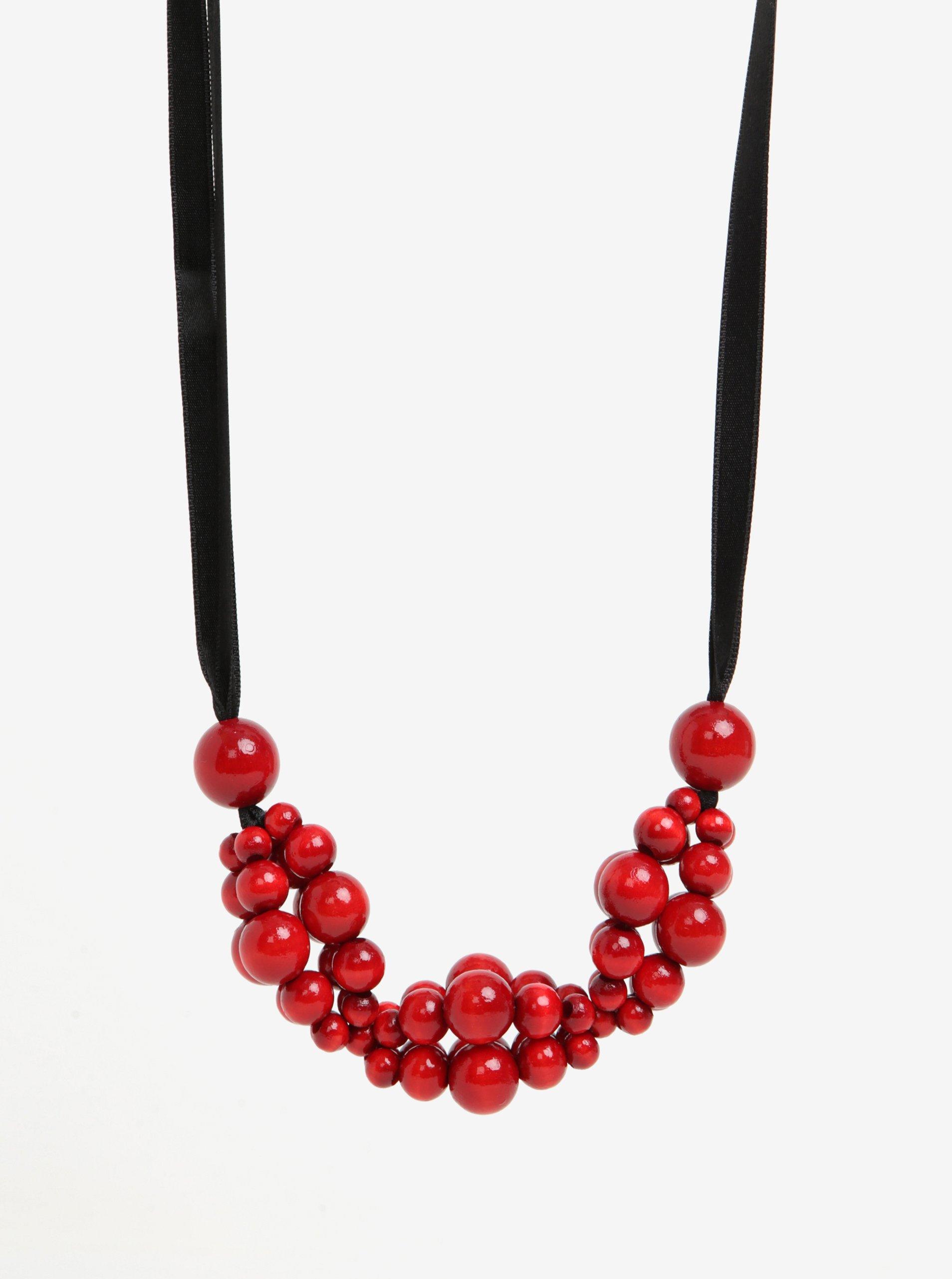ff9b5c0f5 Čierno-červený drevený náhrdelník KO-RA-LE Wav | Moda.sk