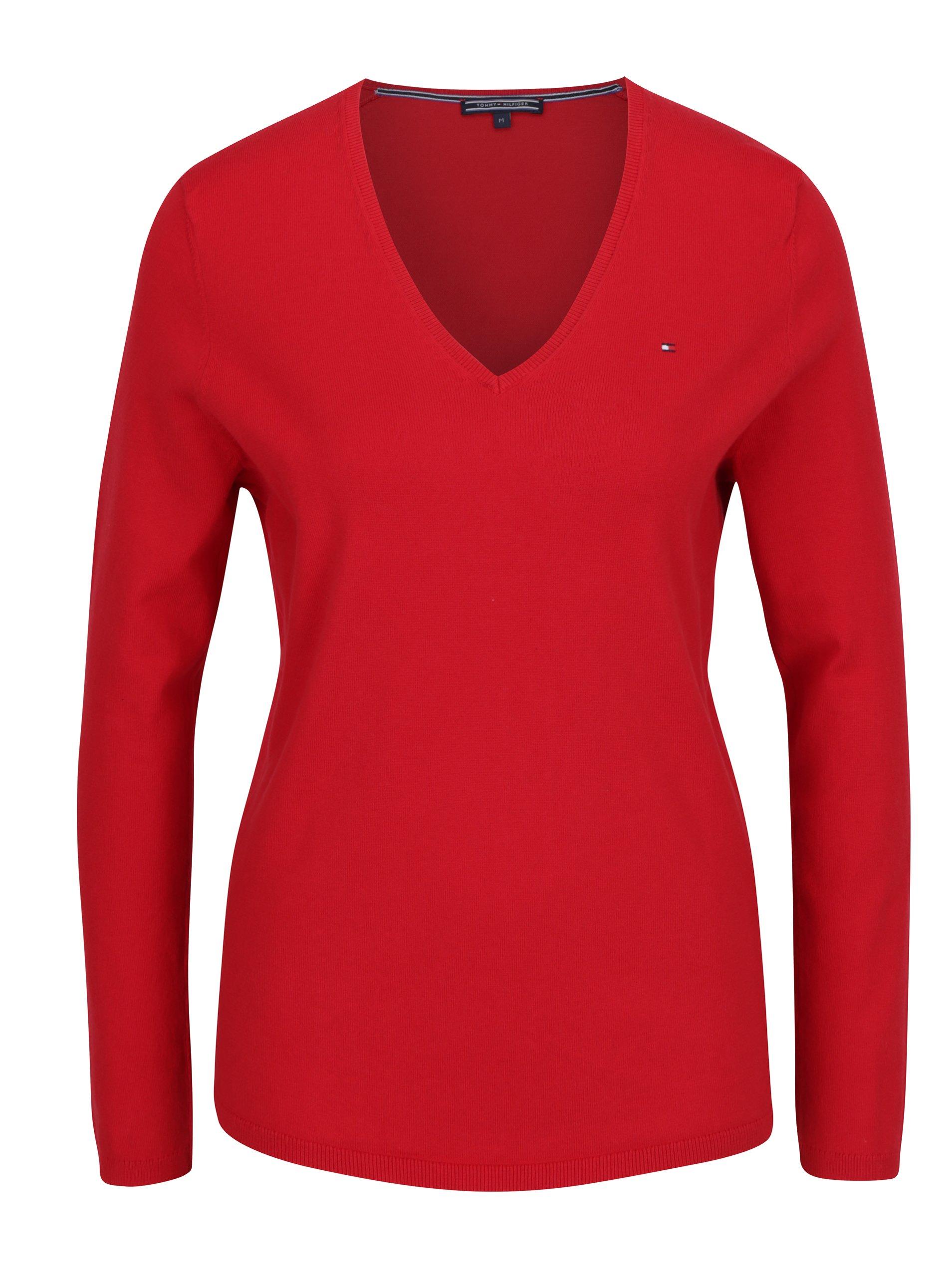 53c842a6cb Červený dámsky sveter s véčkovým výstrihom Tommy Hilfiger New Ivy ...