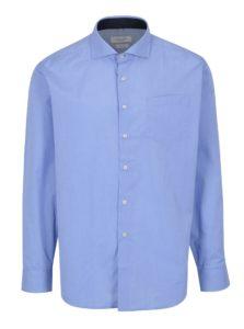 Modrá pánska formálna košeľa s bielymi gombíkmi Seven Seas