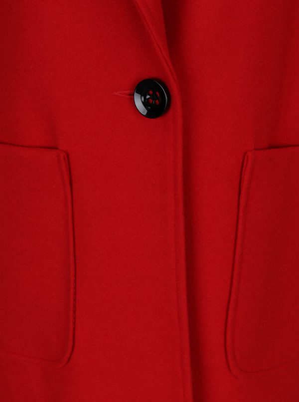 Červený kabát s prímesou vlny Miss Selfridge