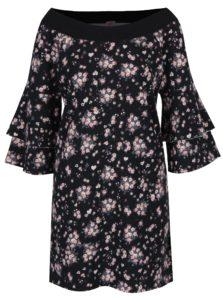 Čierne mikinové šaty s volánmi na rukávoch Juicy Couture