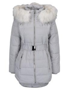 Svetlosivá prešívaná bunda s umelým kožúškom Miss Selfridge