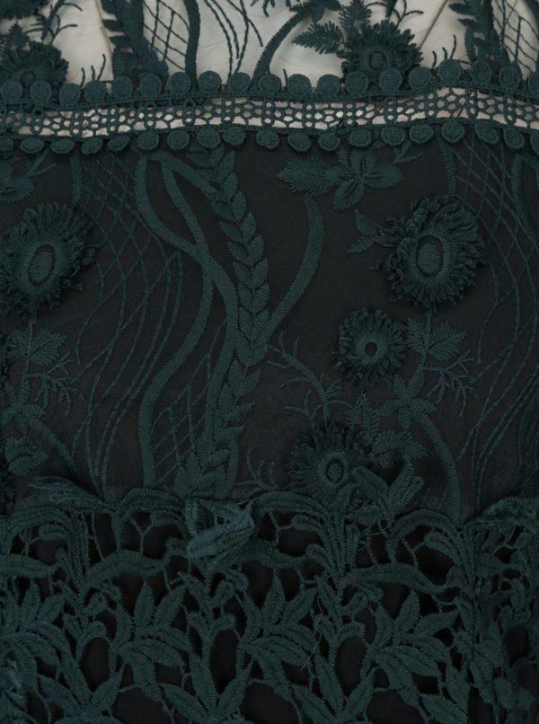 Tmavozelené čipkované midišaty s dlhým rukávom Miss Selfridge