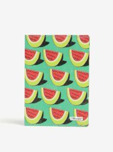 Zelené puzdro na cestovné doklady s motívom melónov I Like Paper