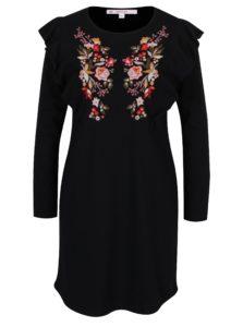 Čierne šaty s výšivkami kvetín v tvare motýľa Miss Selfridge
