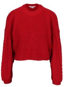 Červený rebrovaný crop sveter Miss Selfridge