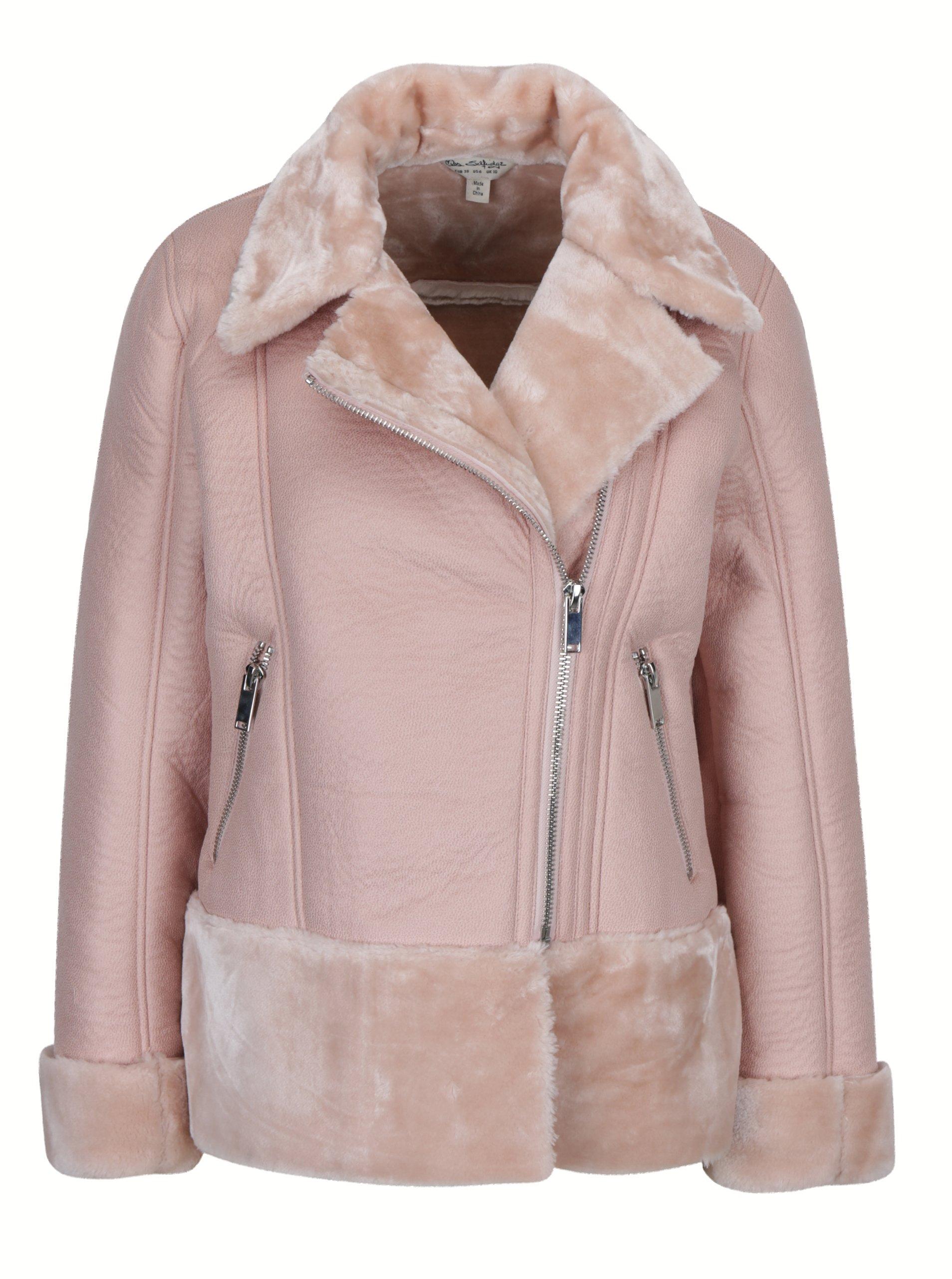 Staroružová koženková bunda s umelým kožúškom Miss Selridge  7fcf8d9629b