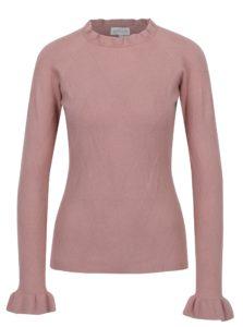 Ružový sveter s volánmi na rukávoch Apricot