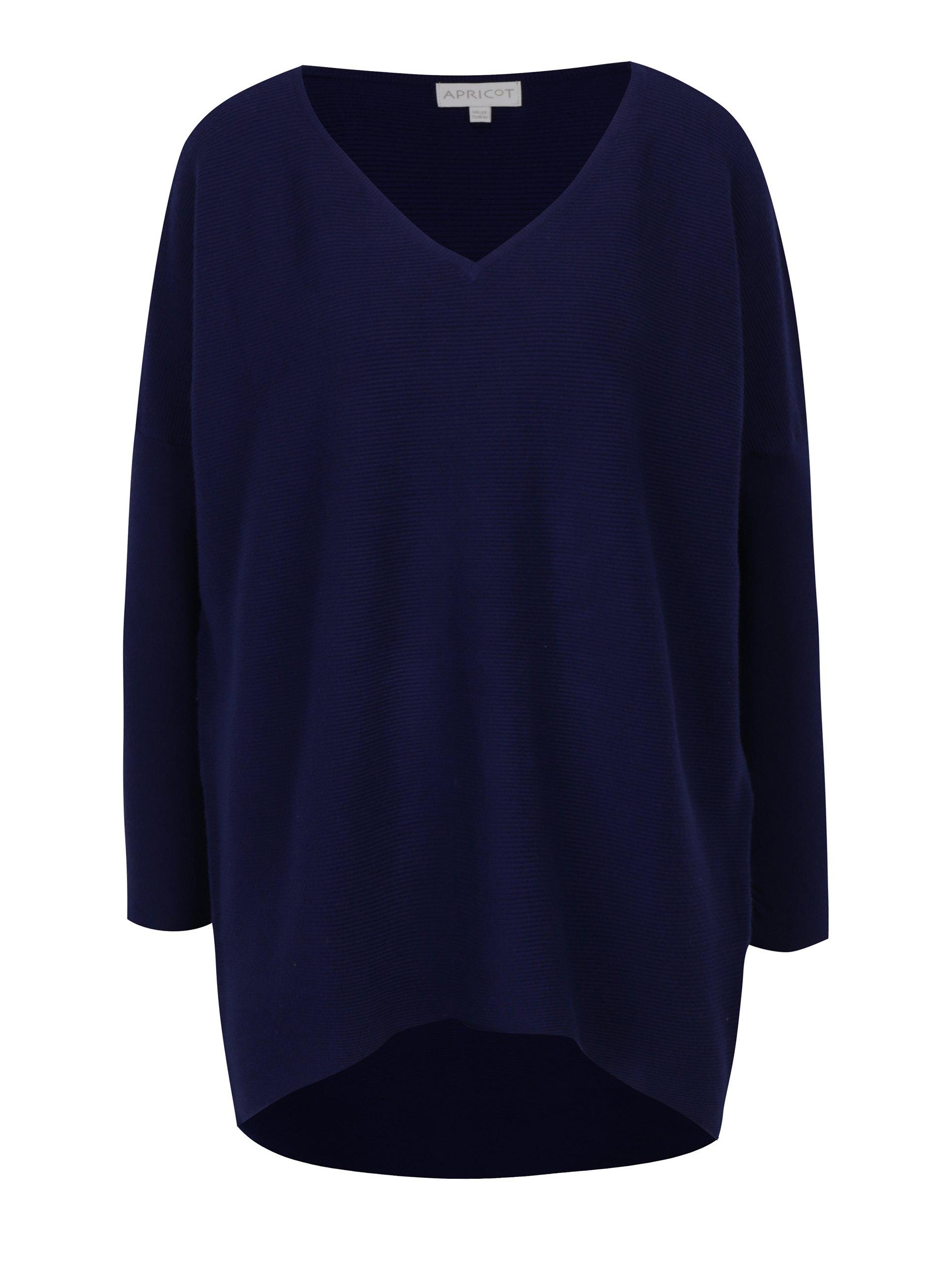 b2df9a8b0014 Tmavomodrý sveter s véčkovým výstrihom Apricot