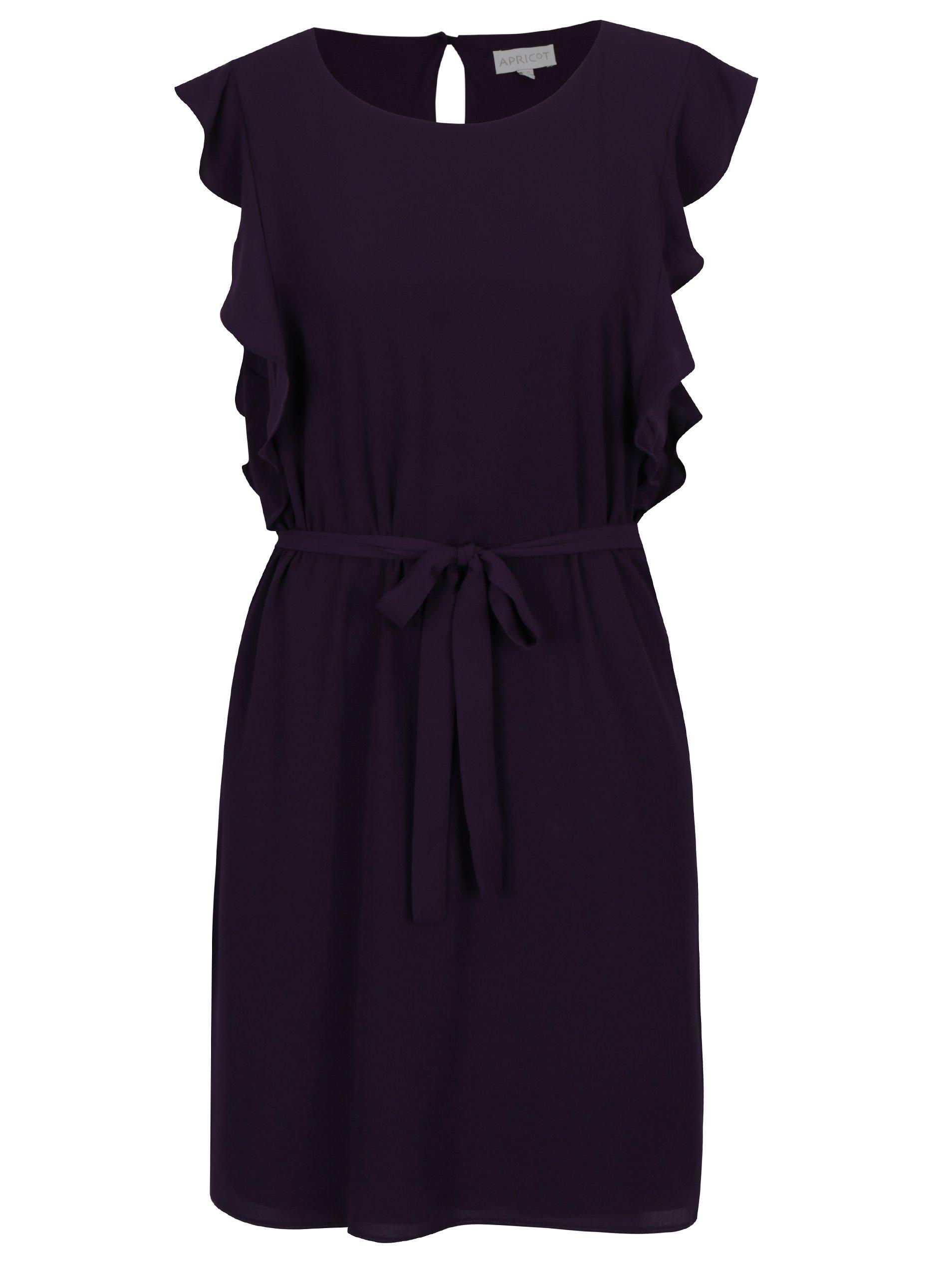 a0081ec396d2 Tmavofialové rovné šaty s volánmi na ramenách Apricot