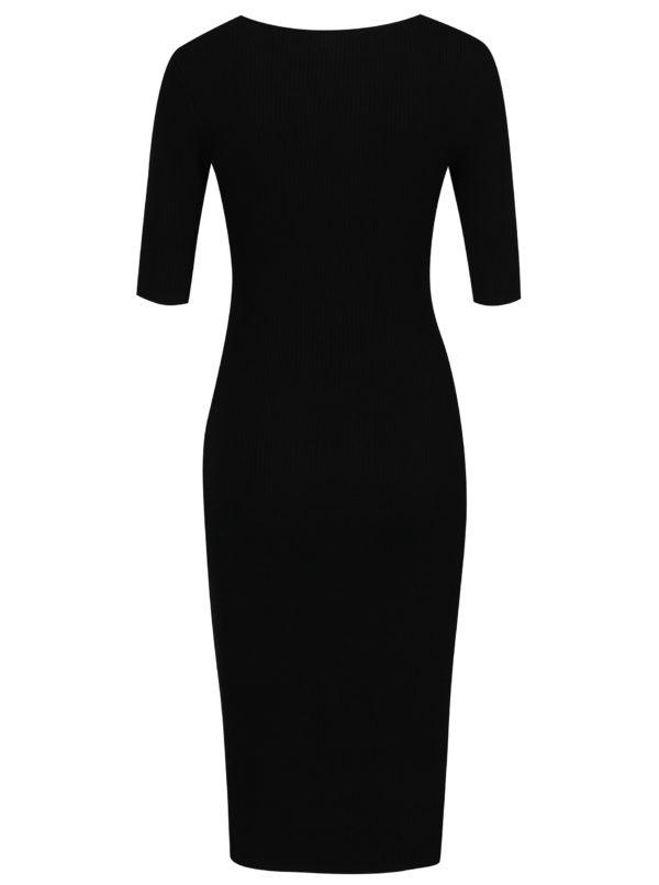 Čierne svetrové šaty so šnurovaním v dekolte Apricot