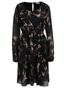 Čierne šaty pre dojčiace ženy s potlačou Mama.licious Bird