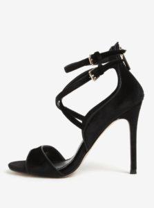 Čierne zamatové sandále na ihličkovom podpätku Miss KG Faleece